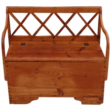 19th Century Small Pine Bench with Lattice Back and Hinged-top