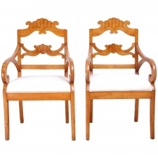 Pair of Swedish Karl Johan Biedermeier Armchairs