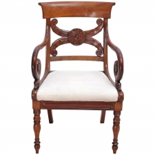 19th Century French Mahogany Armchair, Charles X