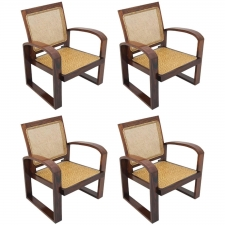 Set of 4 Contemporary Rosewood Armchairs with Caned Backs and Woven Seats