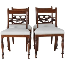 Set of Four English Regency Dining Chairs in Mahogany with Upholstered Seat