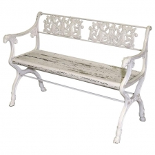 Late 19th Century Victorian Cast Iron Garden Bench with Wooden Seat