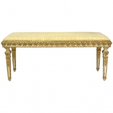 Swedish Belle Époque Bench in Gilded & Polychrome Wood with Upholstered Seat, circa 1900