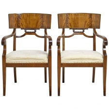 Pair of Swedish Art Deco Armchairs in Mahogany, circa 1920s