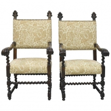 Pair of 19th Century Jacobean Style Throne Chairs with Carved Royal Plumes