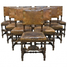 Set of 10 Flemish 19th Century Renaissance Revival Chairs in Walnut with Leather