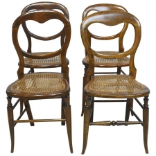 Set of Four Country French Chairs with Woven Cane Seats