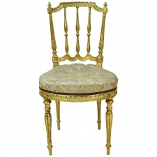 Louis XVI Style French Gilded Salon Chair with Spindle-Back & Upholstered Seat, circa 1900