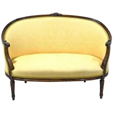 19th Century Louis XVI Style Walnut Settee or Loveseat with Upholstery