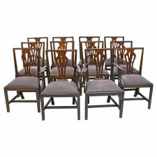 Set of 12 George III Mahogany Dining Chairs, England, circa 1810