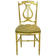 Gilded Louis XVI Style Chair with Lyre-Back & Upholstered Seat, France, circa 1910