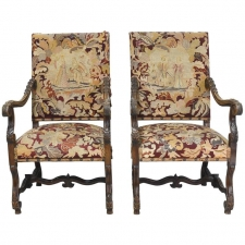 Pair of Louis XIII Style French Throne Chairs, circa 1890
