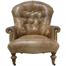 Vintage Brown Leather Club Chair with Scrolled Arms, Tufted Back & Turned Feet