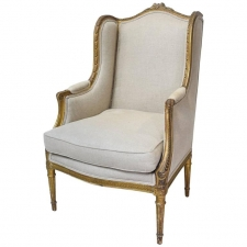 18th Century French Louis XVI Giltwood Bergère or Wingback Chair with Upholstery
