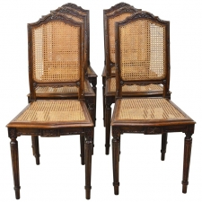 Set of Six Louis XVI Style Chairs in Oak w/ Woven Cane Seat & Back, c 1880