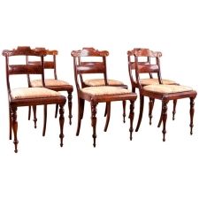 Set of Six Antique Dining Chairs with Slat Back and Turned Legs