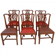 Set of Six 19th Century George III Style Chairs in Mahogany with Leather Seats