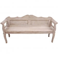 Austrian Bench with Gustavian White/Grey Paint, circa 1840