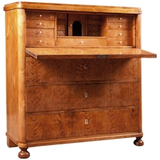 Biedermeier Fall-front Secretary in Birch, Sweden, circa 1830
