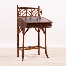 French Bamboo Slant-Top Desk with Original Japanning, c. 1880