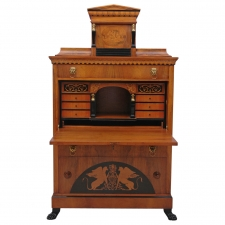 Fine Empire Style Fall-Front Secretary in Walnut with Marquetry