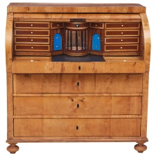 Swedish Empire Cylinder-Top Secretary in Birch