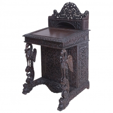 Carved Anglo-Indian Davenport Desk with Griffins
