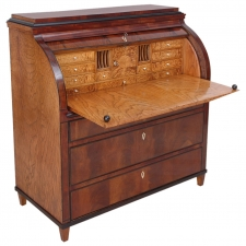 Mahogany, Elm and Elm Root Karl Johan Empire Cylinder Top Secretary c. 1820