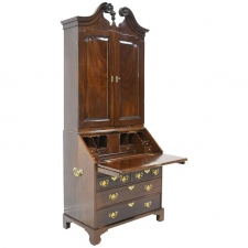 18th Century English George III Slant Front Secretary with Bookcase in Mahogany