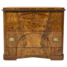 North German Biedermeier Chest of Drawers with Secretary in Mahogany, circa 1830