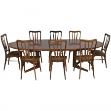 Mid-Century Niels Kofoed Table and 8 Ingrid Chairs in Rosewood, Denmark 1950's