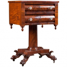 Neoclassical American Empire Side Table in Mahogany, circa 1820
