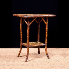 Antique English Bamboo Table with Faux Tortoise Finish, c.1900