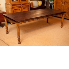 Bonnin Ashley Custom Farm House Table with Turned Cherry Legs & Black Walnut Top