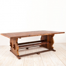 Bonnin Ashley Custom Farm House Table in Reclaimed Pine with Trestle Base