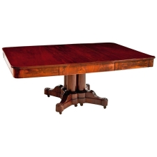 American Empire Dining Table in Mahogany with extension leaf, Boston, c. 1830