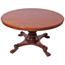 Danish Empire Round Center Pedestal Table in Mahogany, c. 1830