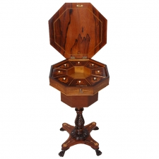 English Regency Octagonal Sewing Table in Rosewood with Marquetry, circa 1835