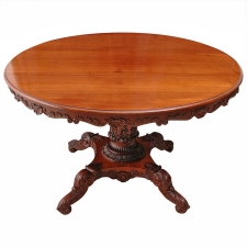 English Regency Round Table with Carved Center Pedestal, circa 1825