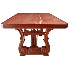 Dining Table in Mahogany with Carved Lyre Trestle Base and Inset Marble Top