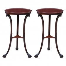 Pair of Round Tripod Tables in Mahogany