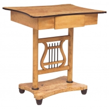 Biedermeier Birch Table with Lyre Pedestal and One-Drawer