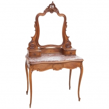 Louis XV Style Belle Époque Dressing Table in Walnut Parquetry with Marble