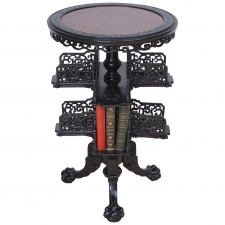 19th Century Chinese Round Export Table with Revolving Book Stand