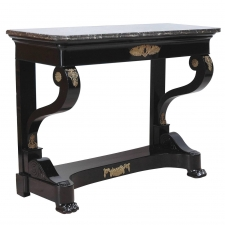 Second Empire Ebonized Console with Ormolu Mounts and Negro Marquina Marble Top