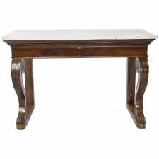 French Empire Console Table in Mahogany w/ White Carrara Marble Top, circa 1800