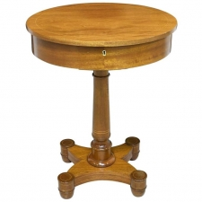 Late 19th Century Oval Sewing Table in Light Mahogany with Line Inlays