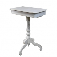 Swedish Gustavian End Table on Tri-foot Pedestal w/ Grey/White Paint, c. 1825