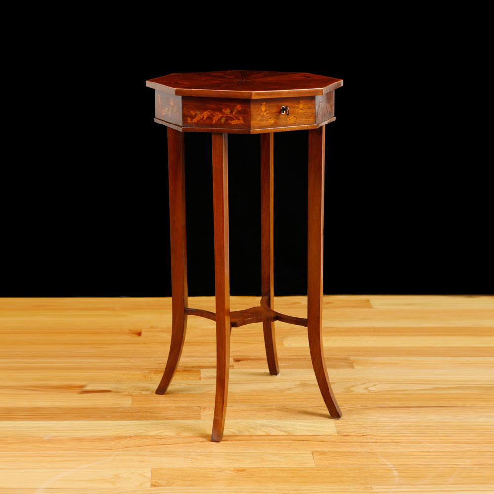 Antique Side Table With Octagonal Top In Mahogany With Inlays, Northern  Europe, C. 1900