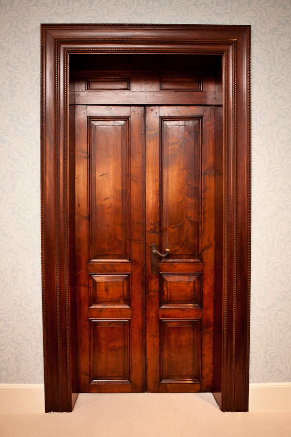 19th century antique pine door and transom with mahogany door frame
